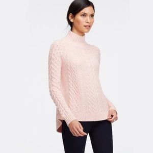 Ann Taylor Mock Neck Cable Knit Sweater - L